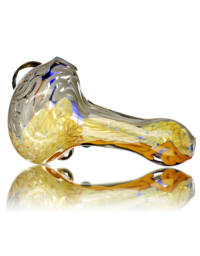 """4"""" Glass Dry Pipe Fully Worked Dichro Inside Out M by GFL Glass"""