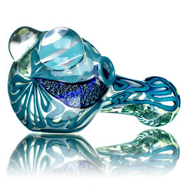 """4"""" Glass Dry Pipe Fully Worked Dichro Inside Out N by GFL Glass for use with dry herbs WDRX00n10"""