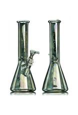 "11"" 14mm 40x5mm Green Anodized Glass Beaker Water Bong by Left Coast Glass"