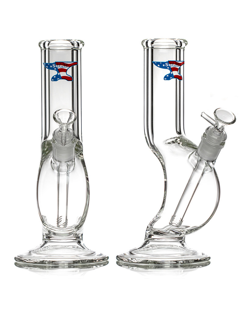 """10"""" 14mm 50x9 Small Clear Glass Zong Bong by SOLID Glass"""