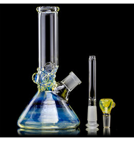 "9"" Silver Fume Accented Mini Tube Bong with Downstem and Slide by Horny Glass"