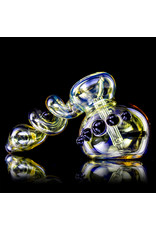"""6"""" Ebony Accented Trapped Marble Fume Bubbler by Ross Glass"""