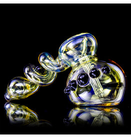 "6"" Ebony Accented Trapped Marble Fume Bubbler by Ross Glass"