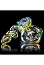 "6"" Green Accented Trapped Marble Fume Bubbler by Ross Glass"