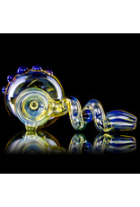 """6"""" Amber Purple Accented Trapped Marble Fume Bubbler by Ross Glass"""