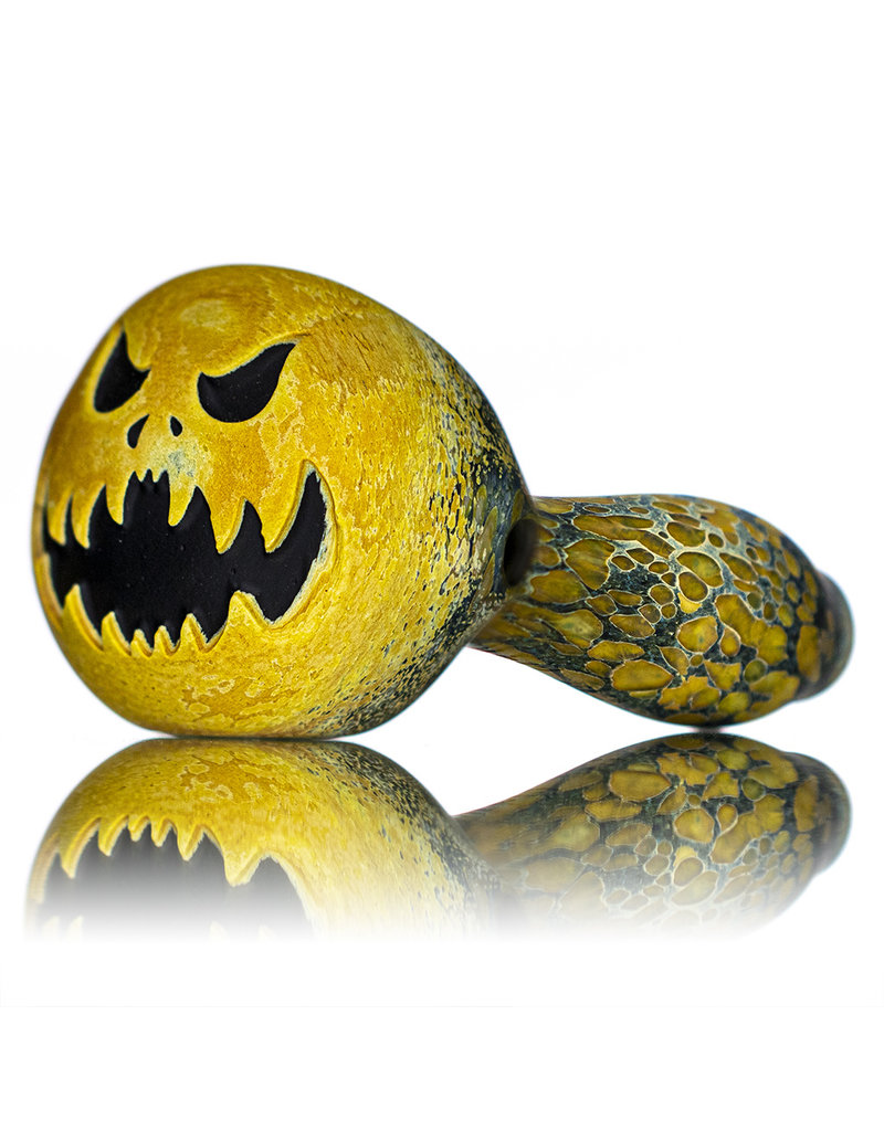"""Stone Tech Glass 4"""" Glass Dry Pipe Doctober Themed Pumpkin (W) by Stonetech x Witch DR"""