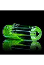 "3"" Green Glitter Glass Chillum Onie by Hitide Glassworks"