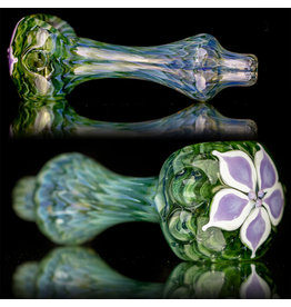 """4"""" Glass Dry Pipe Pinwheel Flower Spoon by Cherry City Glass (D)"""