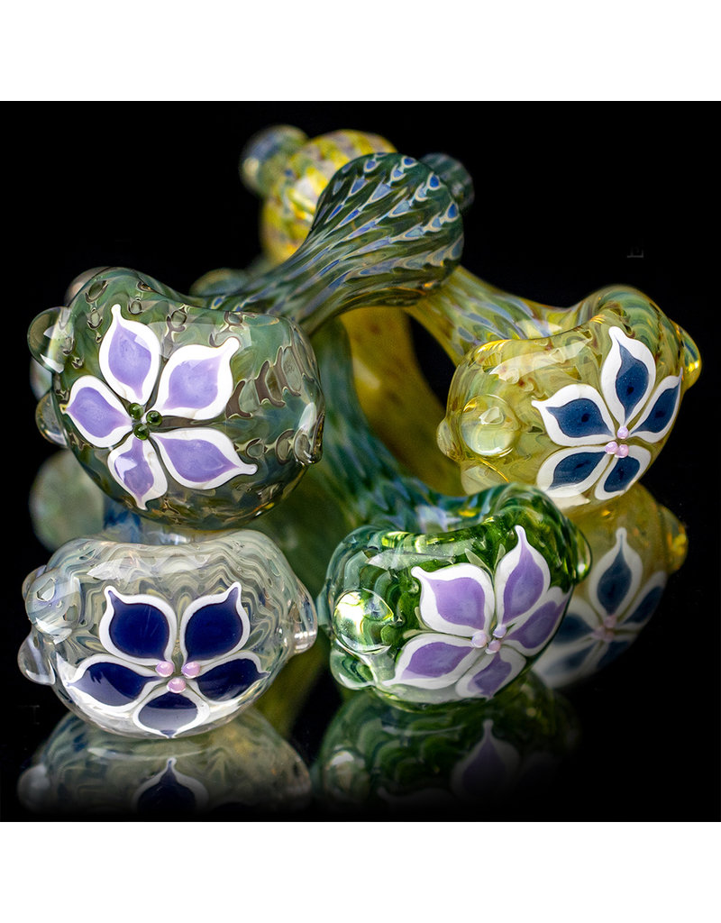 """4"""" Glass Dry Pipe Pinwheel Flower Spoon by Cherry City Glass (G)"""