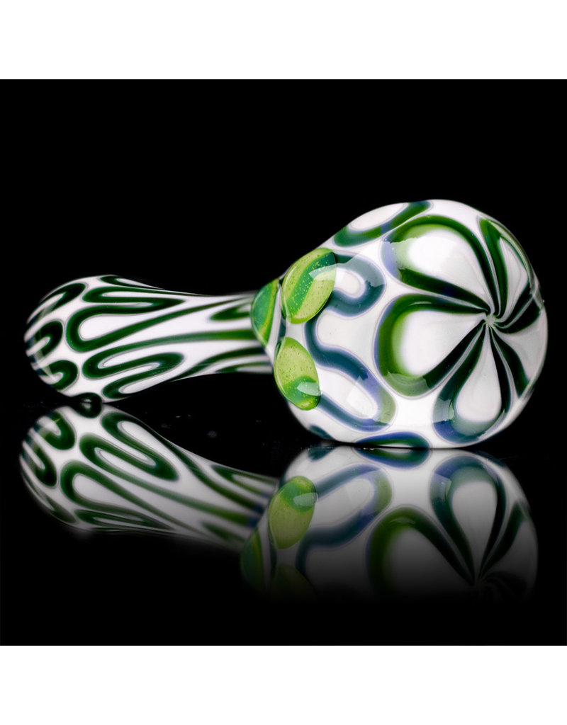 """4"""" Glass Dry Pipe Green Squiggle on White by SW Glass"""