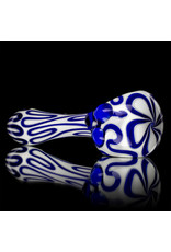 """4"""" Glass Dry Pipe Blue Squiggle on White by SW Glass"""
