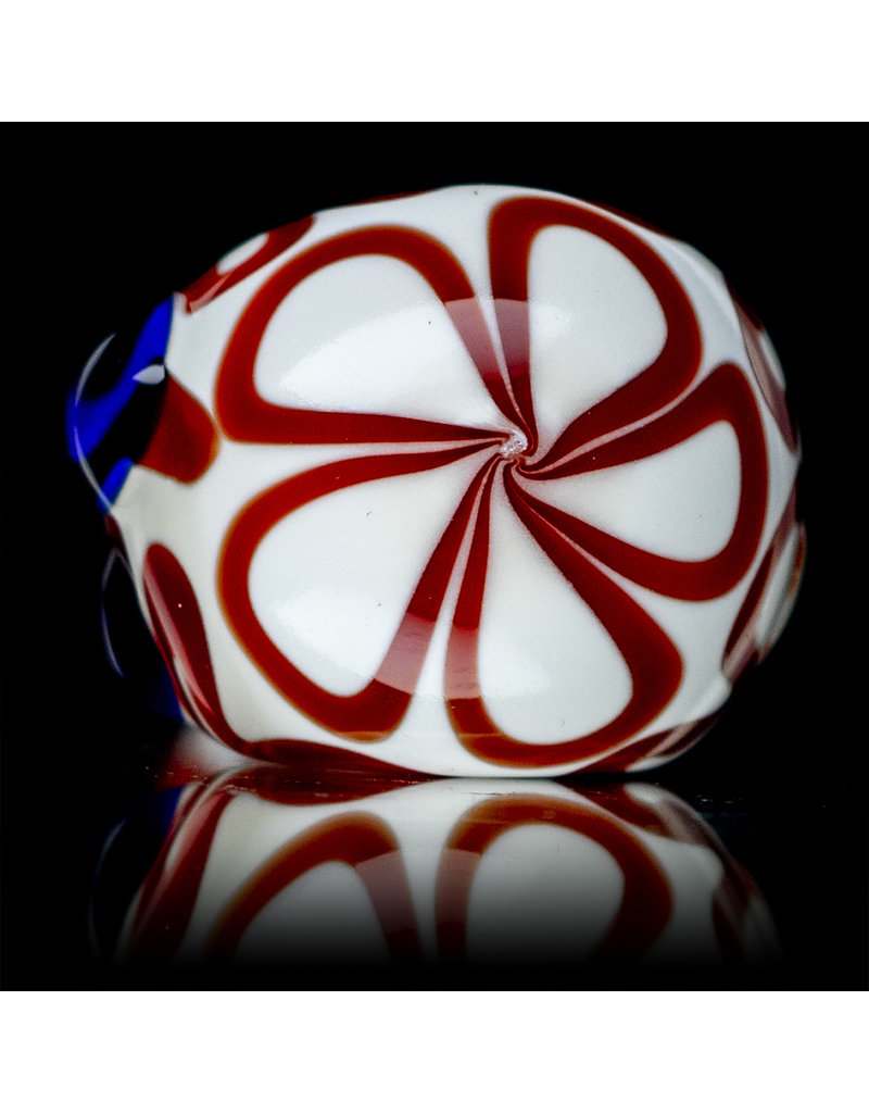 """4"""" Glass Dry Pipe Red Squiggle on White by SW Glass"""