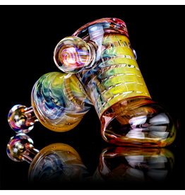 "5"" Glass Dry Pipe (L) Cut n Flip Fume Hammer w / Pink Slyme Encalmo by Sully Reynolds"