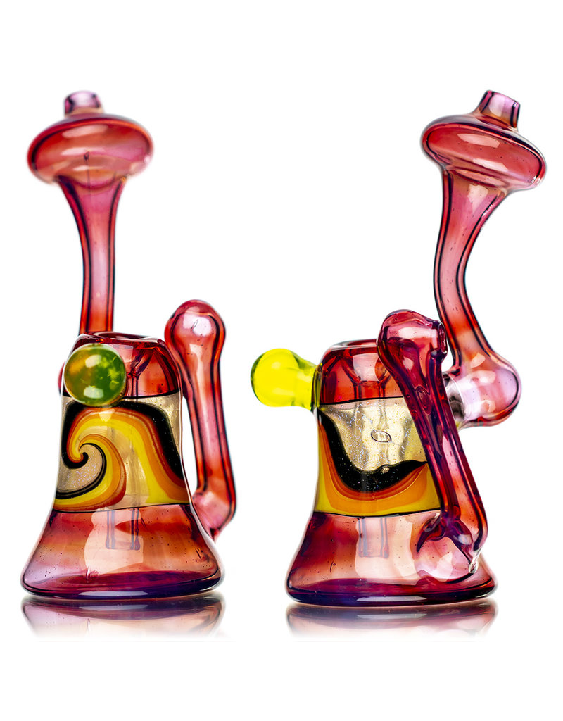 """6"""" Fully Worked UV Accented Snorkel Upright Push Bubbler (C) by Weight Glass"""