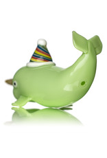 "5"" Glass Dry GreenNarwhal Party Pipe by Dellene Peralta"