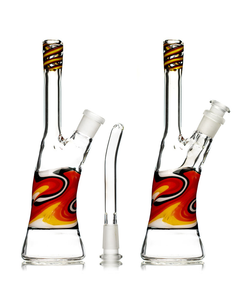 """9"""" 14mm 45 Dichro Linework Color Tube (A) with Removable Downstem by Weight Glass"""