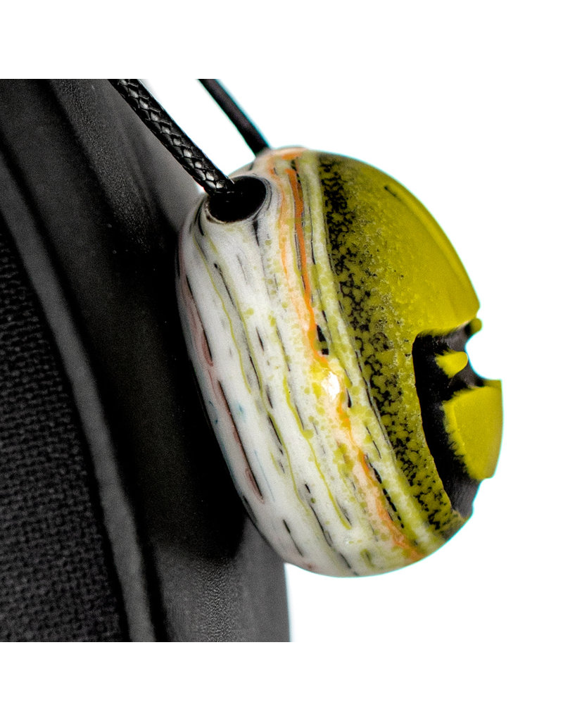 """2"""" Canary Rainbow Birch GOLDEN Glass Pendant by Witch DR Studio"""