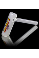 """5"""" Glass Bubbler Water Pipe White Rainbow Decorated Hammer by Jellyfish Glass"""