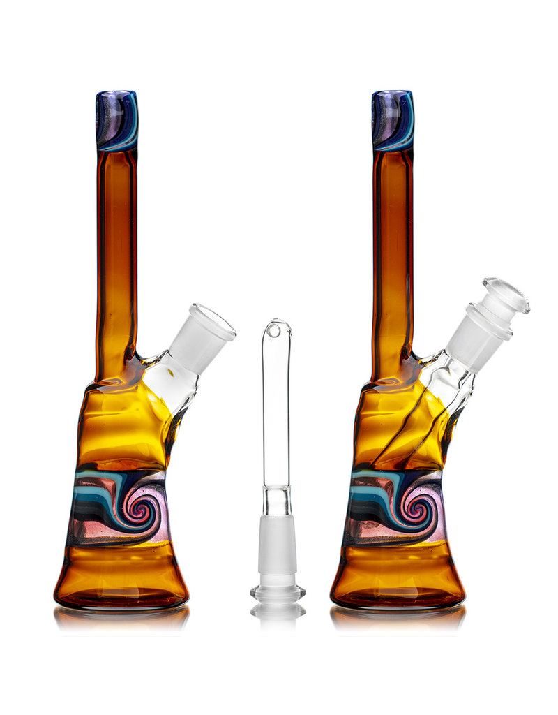 """9"""" 14mm 45 Dichro Linework Color Tube (E) with Removable Downstem by Weight Glass"""