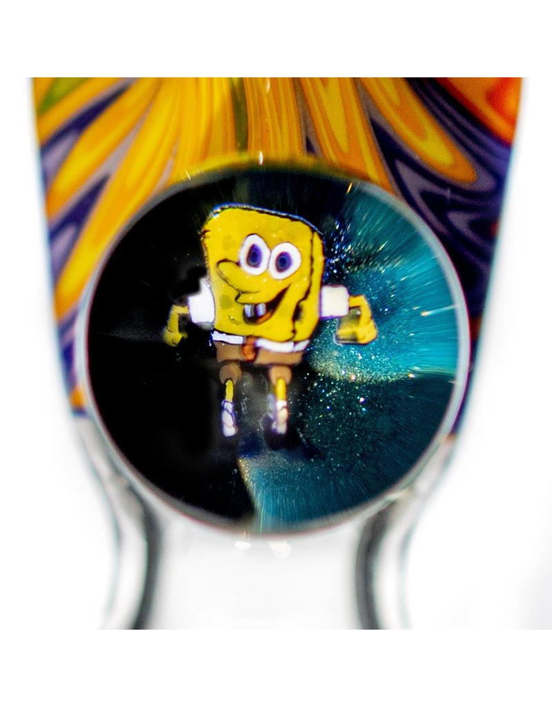 Black Tuna Glass 14mm Fully Worked Bong Bowl Slide Piece with Sponge Bob Millie Handle and 5-Hole glass screen (W) by Black Tuna