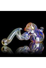 """9"""" Fumed Inside Out Laydown Bubbler by EKG Glass (A)"""