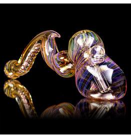 """9"""" Fumed Inside Out Laydown Bubbler by EKG Glass (B)"""