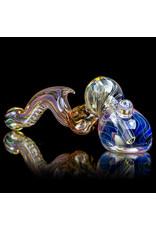 """9"""" Fumed Inside Out Laydown Bubbler by EKG Glass (C)"""
