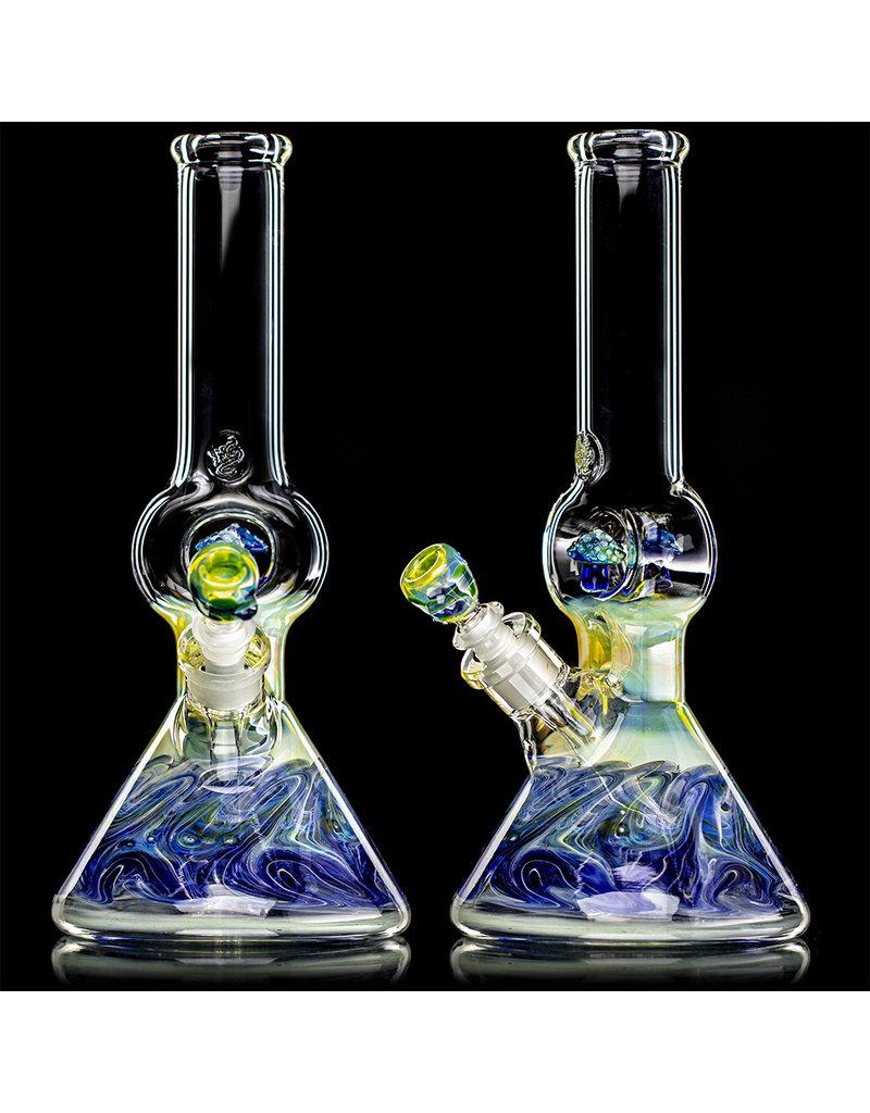 "13"" Double Mushroom Donut WR Color & Fume Beaker Bong by Horny Glass"