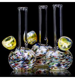 "Aaron Milligan Glass 5"" Mini Grommet Confetti & Fume Wrap and Rake Bong by Aaron Mulligan"