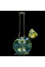 "Aaron Milligan Glass 5"" Mini Grommet Green & Fume Wrap and Rake Bong by Aaron Mulligan"