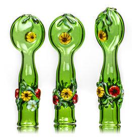 "4"" Green Floral Chillum by Diane Gilliam"