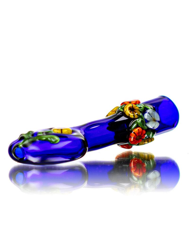 """4"""" Cobalt Floral Chillum by Diane Gilliam"""