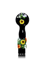 "4"" Black Floral Chillum by Diane Gilliam"