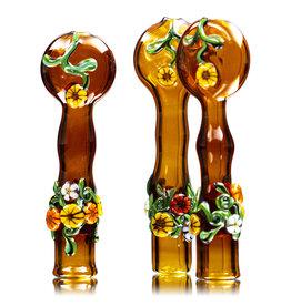 "4"" Amber Floral Chillum by Diane Gilliam"