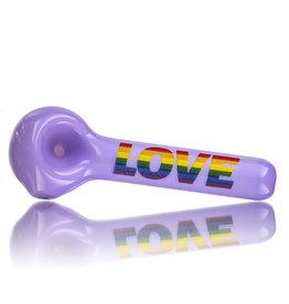 "4"" Milky Purple Rainbow LOVE Pipe by Jellyfish Glass"