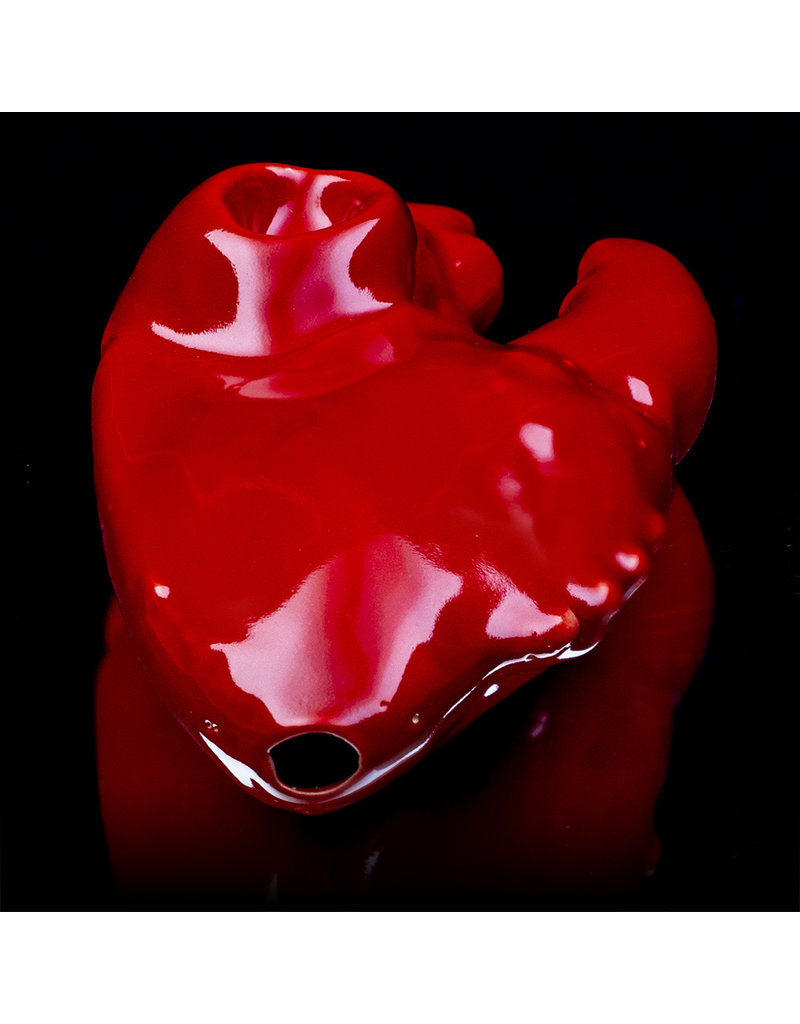 """5"""" Red Lobster Claw Ceramic Dry Pipe by BMC Glass"""