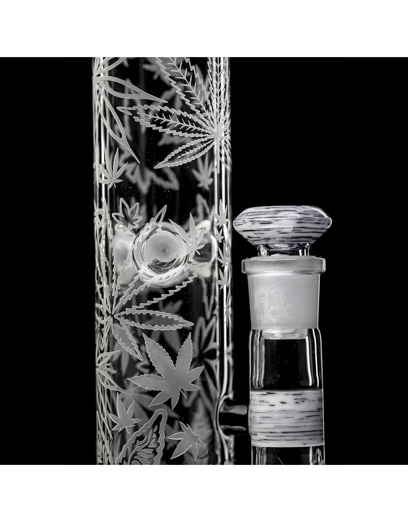 """Witch DR 15"""" 18mm 90 Decorated Betula Birch Header Topper Weed Bong with Matching Slide by Witch DR Studio"""