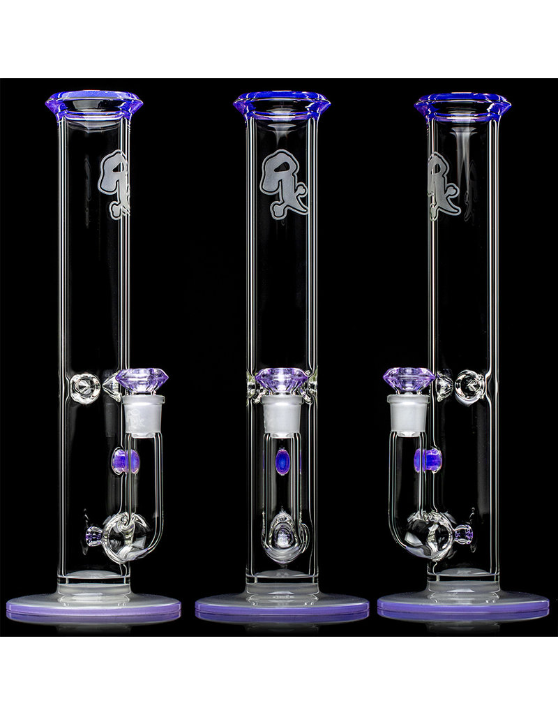 """Witch DR 18mm 14"""" Purple Lilac Accented Straight Bong with Matching Slide by Witch DR Studio"""