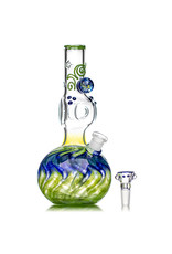 """EW21 9"""" 14mm Triple Donut WR Bubble Base Bong with Matching Slide (A) by Ed Wolfe"""