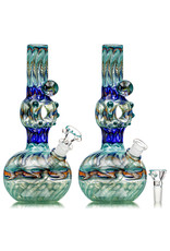 """EW21 9"""" 14mm Full Color Triple Donut WR Bubble Base Bong with Matching Slide (B)"""