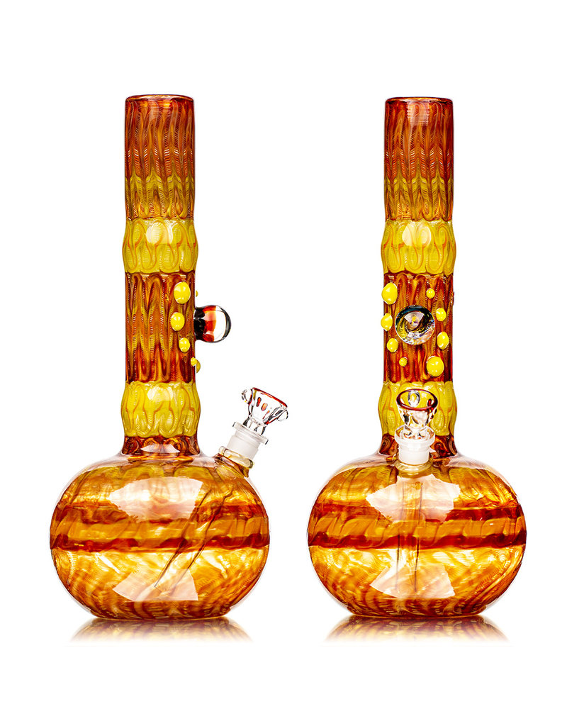 """EW21 12"""" 14mm Full Color Bubble Base Bong with Matching Slide (E) by Ed Wolfe"""