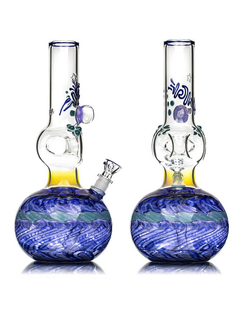 """EW21 11"""" 14mm Triple Donut WR Bubble Base Bong with Matching Slide (D) by Ed Wolfe"""