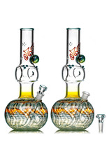 """EW21 14mm 12"""" Triple Donut Full Color WR Bubble Base Bong w/ Matching Slide (Q) by Ed Wolfe"""