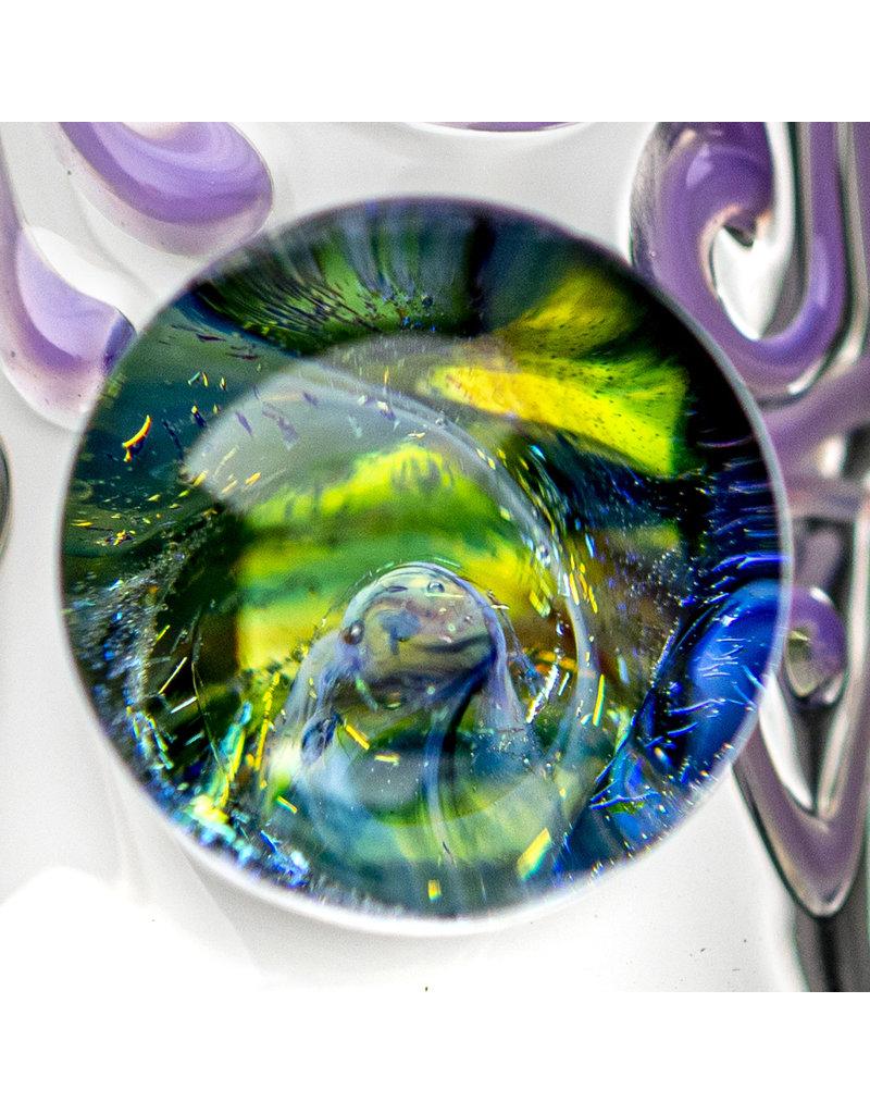 "EW21 14mm 12"" Triple Donut Full Color Bubble Base Bong w/ Matching Slide (U) by Ed Wolfe"