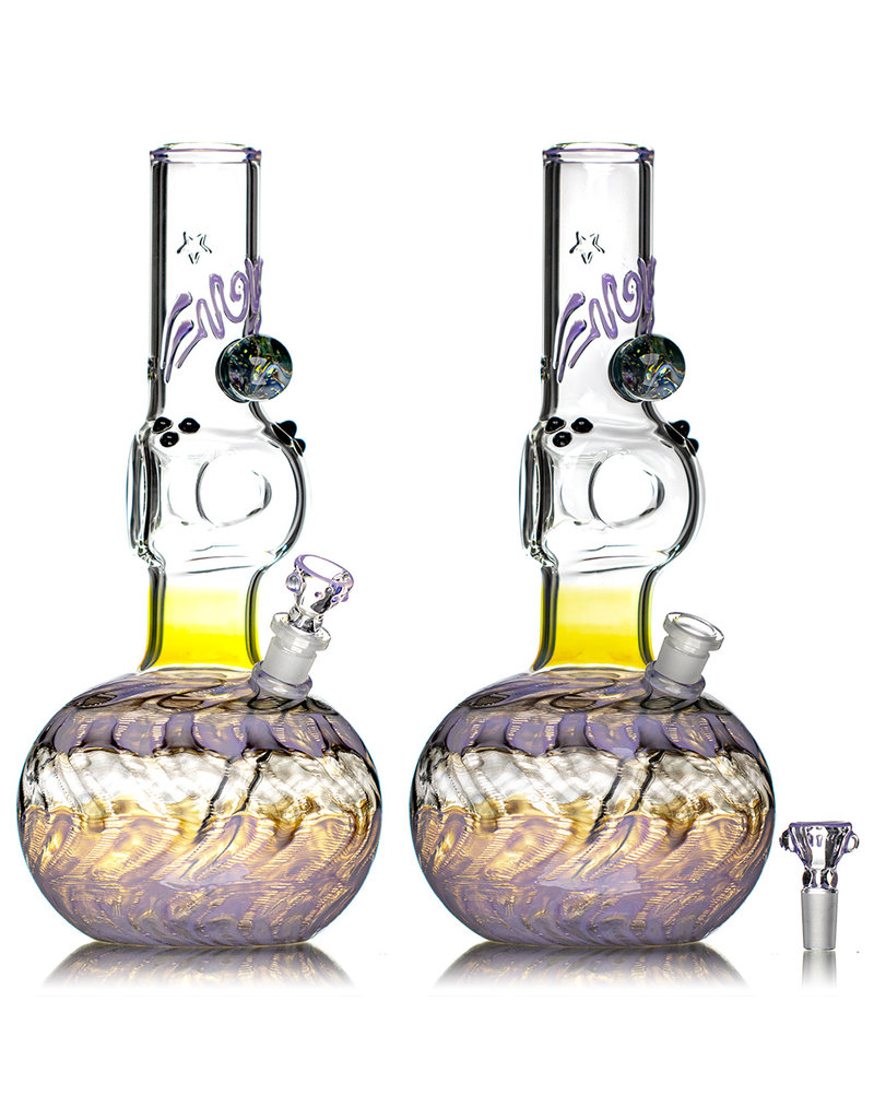 """EW21 14mm 12"""" Triple Donut Full Color WR Bubble Base Bong w/ Matching Slide (R) by Ed Wolfe"""