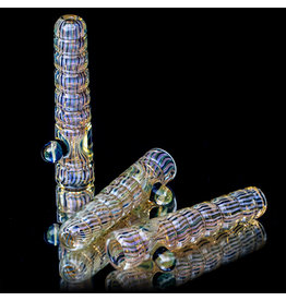 """Witch DR 4"""" Worked Gold Fume Ribbed Glass Chillum by Witch DR Studio"""