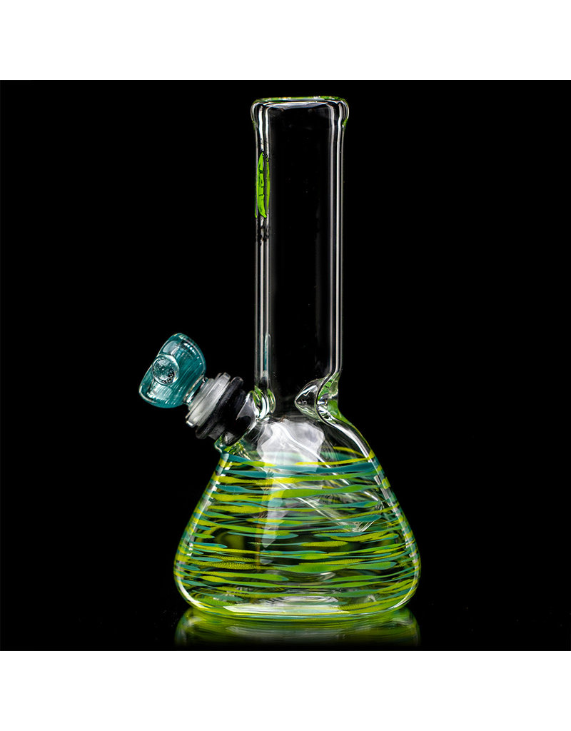 """7"""" 14mm Azul & Yellow Wrap Grommet Beaker Bong with Slide by Space Glass"""