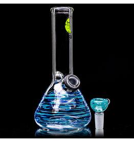 "7"" 14mm Azul & Blue Wrap Grommet Beaker Bong with Slide by Space Glass"
