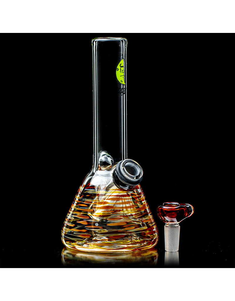 """7"""" 14mm Autumn Wrap Grommet Beaker Bong with Slide by Space Glass"""