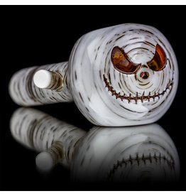 """Witch DR SOLD 4"""" Glass Dry Pipe Doctober Themed AMBER Betula Birch JACK (B3) by Witch DR"""
